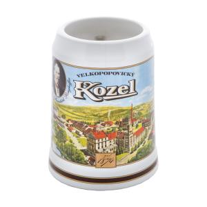 Kozel pitcher with a picture of the brewery