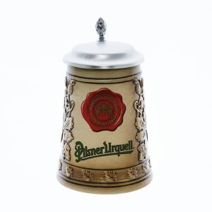 Pilsner Urquell tankard with a seal and lid