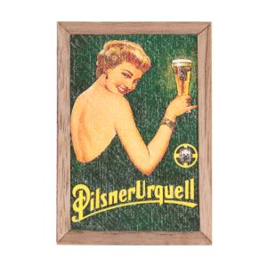 Pilsner Urquell Magnet, Lady with a glass, wood