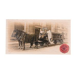 Pilsner Urquell magnet with horse and carriage, wood