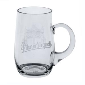Pilsner Urquell engraved half-litre glass with the Jubilee Gate