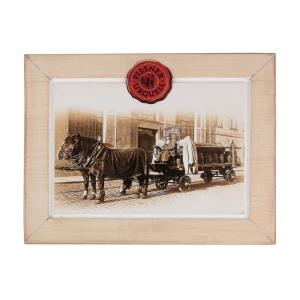 Pilsner Urquell wooden picture with horse and carriage
