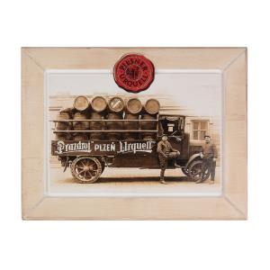 Pilsner Urquell wooden picture with a van