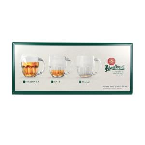 Pilsner Urquell signboard with three pints