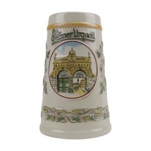 Pilsner Urquell lidless beer mug with relief