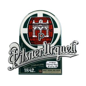 Pilsner Urquell metal sign with green barrel