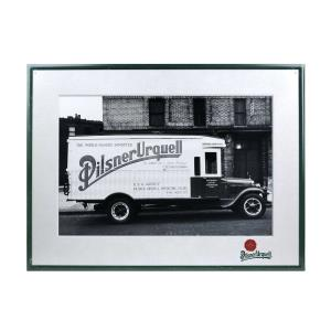 Metal Pilsner Urquell sign, truck theme