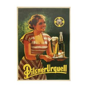 Poster with a replica of the ´Lady with a Tray´ advertisement