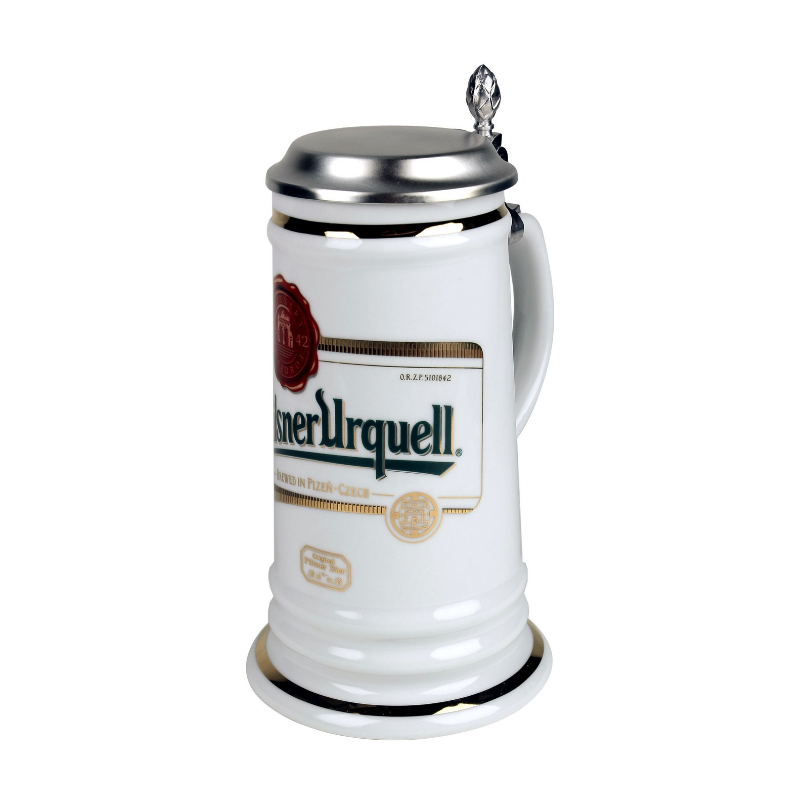 Karla tankard with a lid and the Pilsner Urquell logo