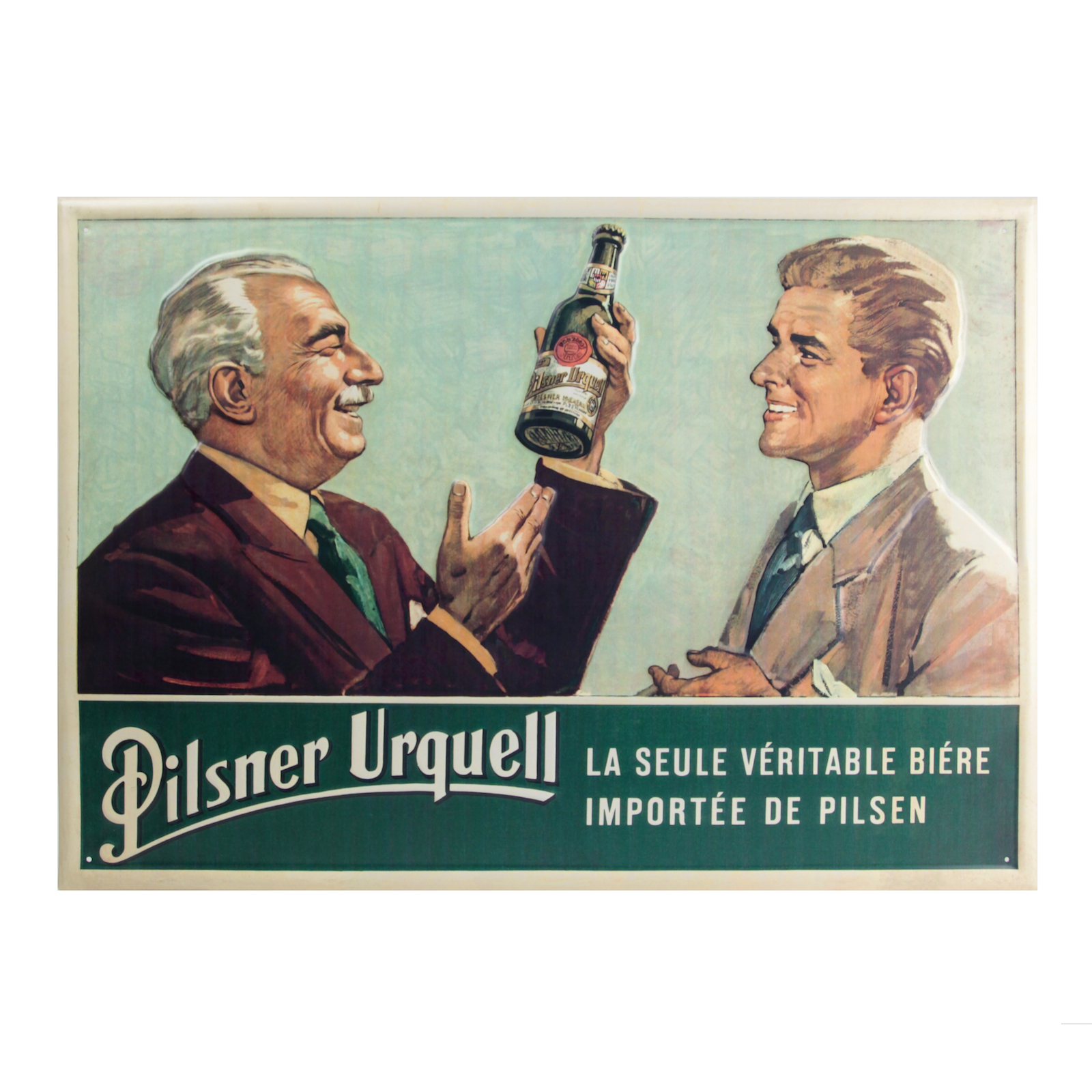 Metal sign with a historic Pilsner Urquell advertisement