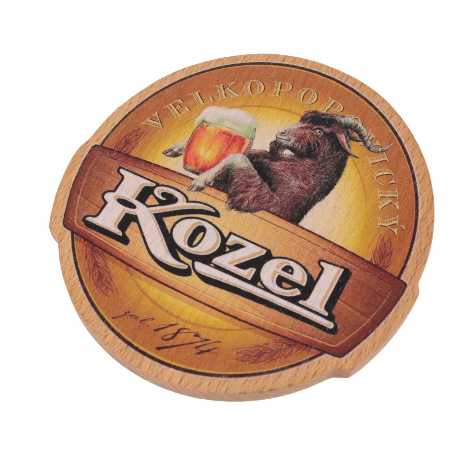 Wooden Kozel Beer Mat – Black Logo