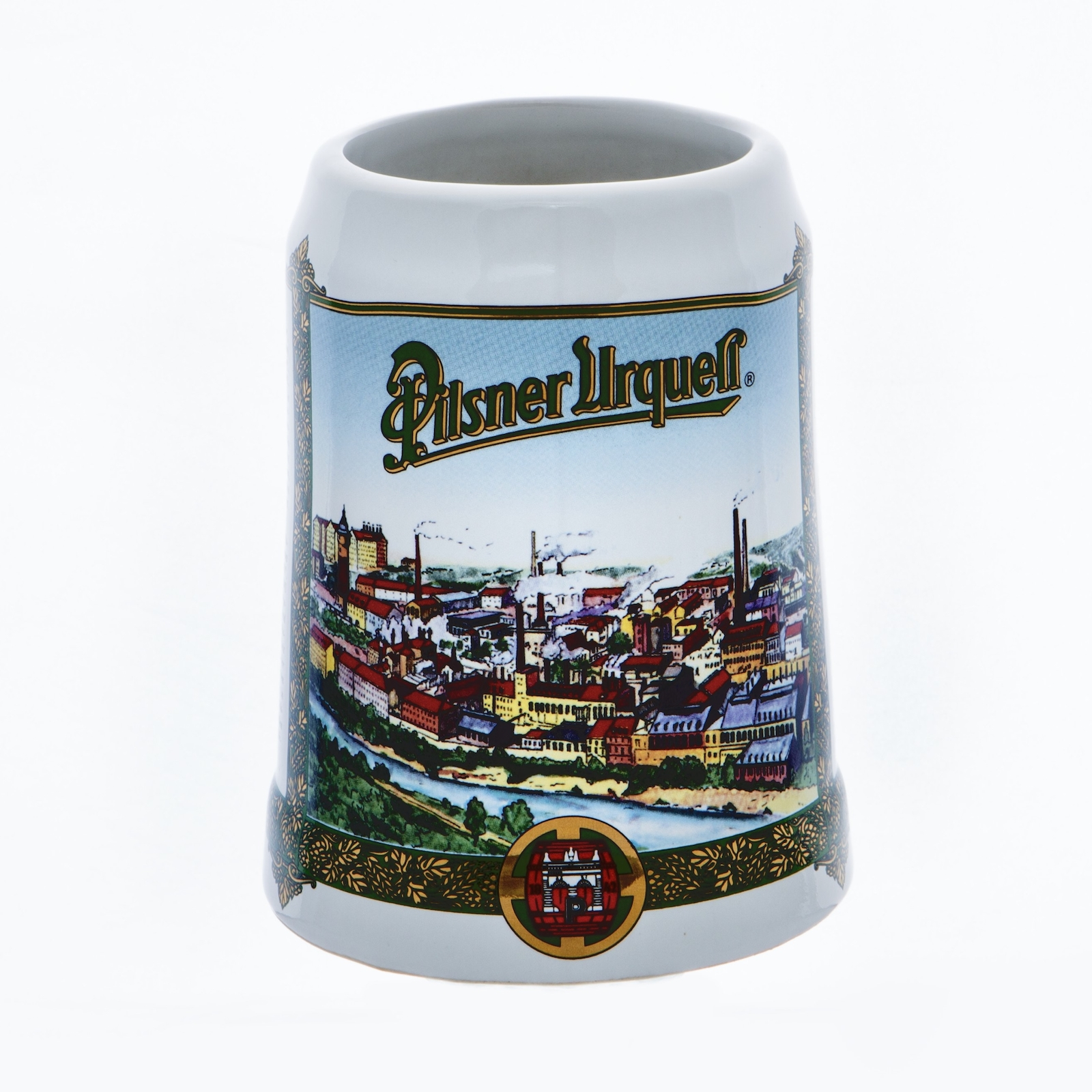 Tankard with a view of Pilsner Urquell