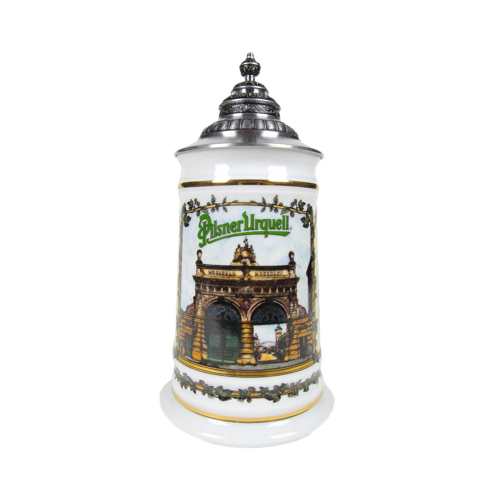 Pilsner Urquell Gate Stein with Pointed Lid