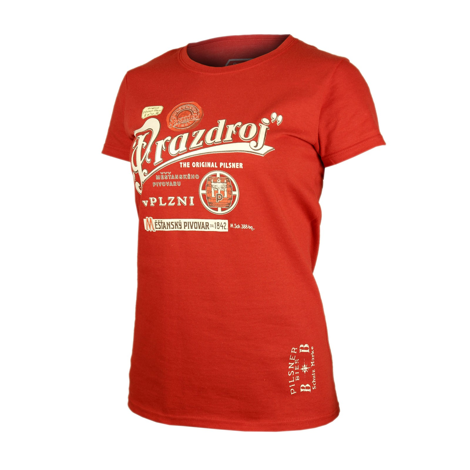 Ladies T-shirt Pilsner Urquell red barrel with embroidery
