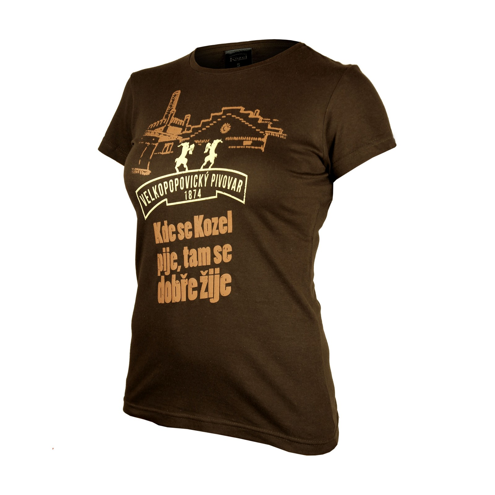 Ladies' Brown Kozel Brewery T-Shirt with embroidery