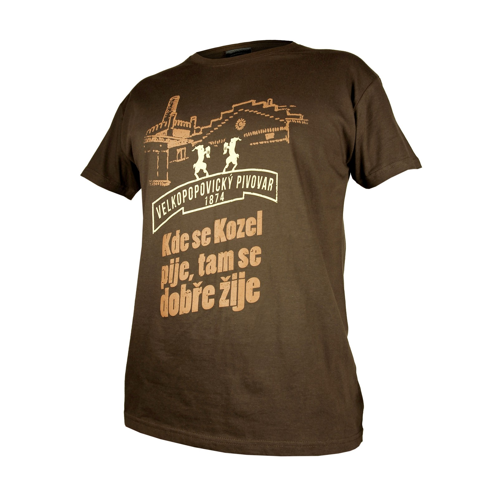 Men's Brown Kozel Brewery T-Shirt with embroidery