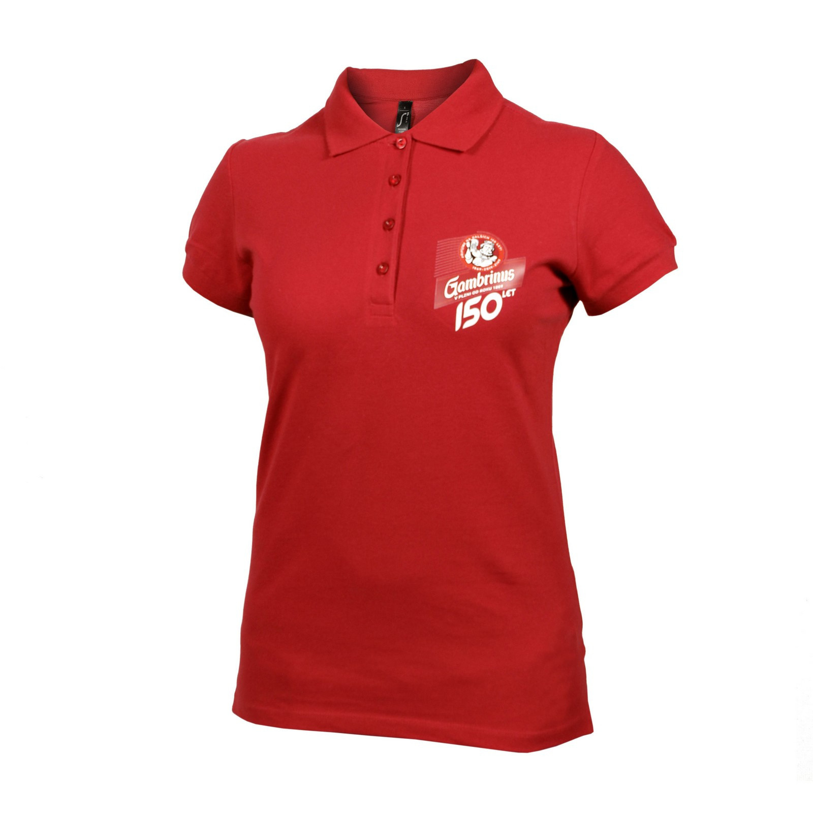 Ladies' polo shirt 150 years of Gambrinus – red