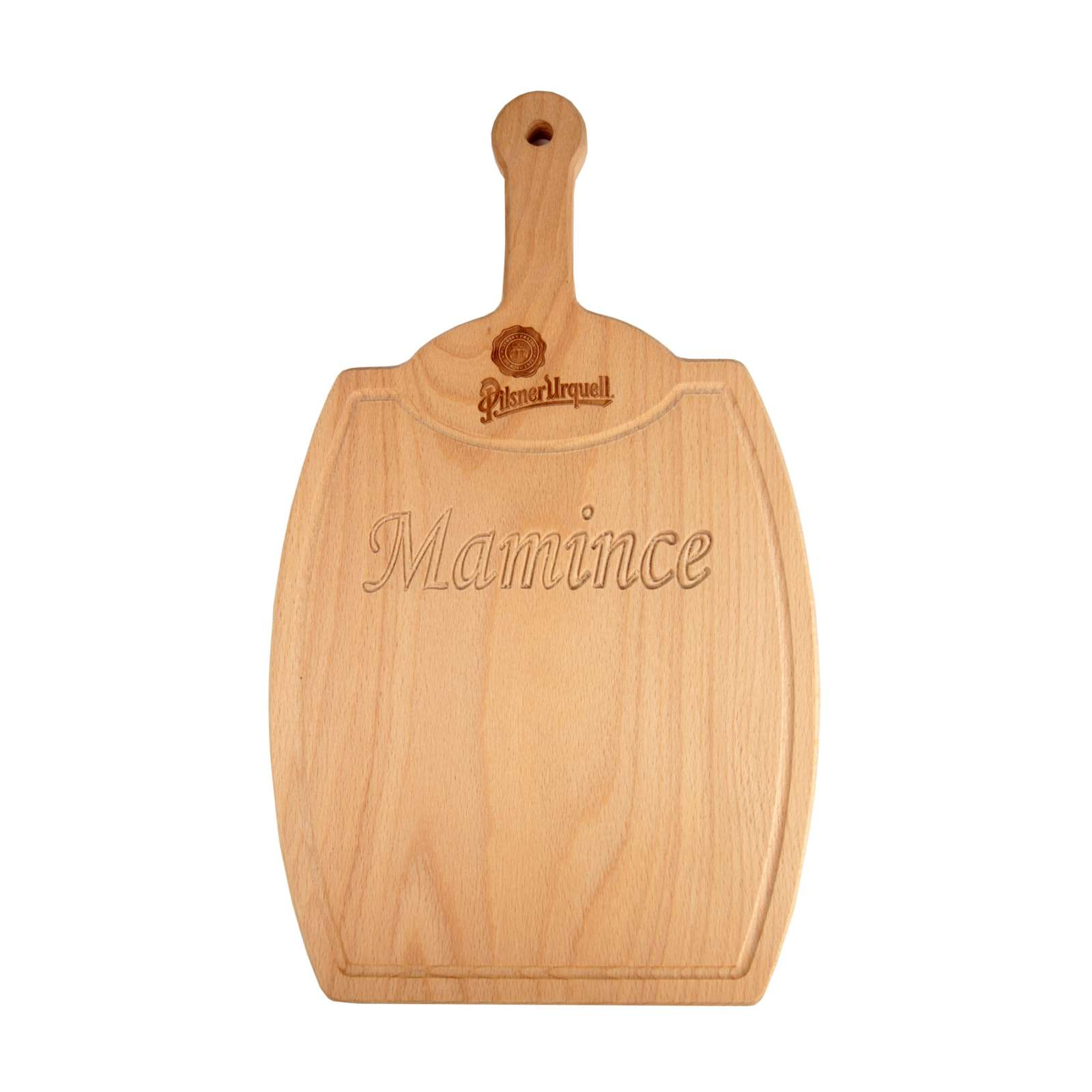 Pilsner Urquell wooden chopping board - barrel with inscription